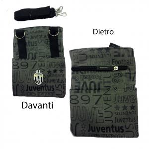 JUVENTUS tracollina regolabile in stoffa grigia scritte con stemma 4 tasche prod
