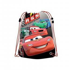 CARS zainetto sacca porta scarpe tempo libero con tasca anteriore con zip