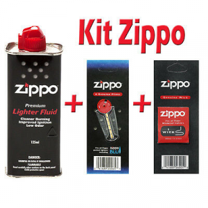 kIT ZIPPO benzina + stoppino+ blister con 6 pietrine tutto ZIPPO ORIGINALE