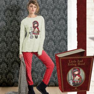 Pigiama Santoro Gorjuss ross,invernale caldo cotone,jersey,donna/ragazza 2 pezzi