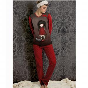 Pigiama Santoro tutto rosso,invernale caldo cotone,jersey,donna/ragazza 2 pezzi