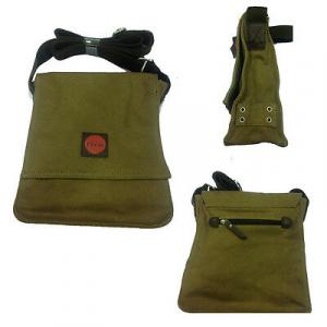 Tracolla STUDIO INK in tessuto marrone patta con automatico tasca grande zip