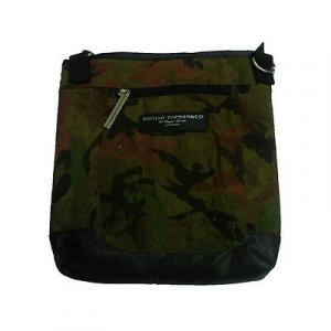 Tracolla camouflage in tessuto e eco-pelle marrone 2 tasche con zip da uomo