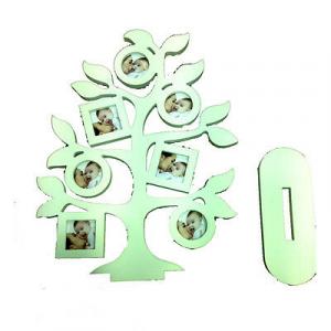 Cornice ad albero in legno bianco con base per appoggio 42x30 cm by VIRCA