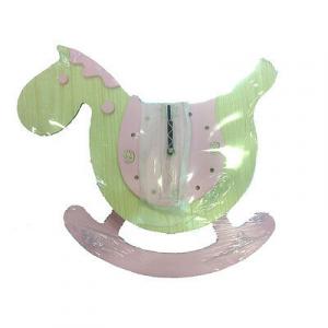 Orologio da parete a forma di cavalluccio rosa con pendolo in legno da bambina