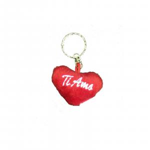 AMORE portachiavi cuore in peluches TI AMO 5,5 cm per lui/lei IDEA SAN VALENTINO