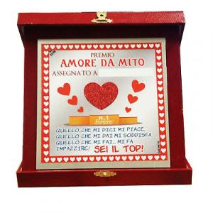 SAN VALENTINO targa PREMIO AMORE DA MITO personalizzabile 16X16 cm AMORE