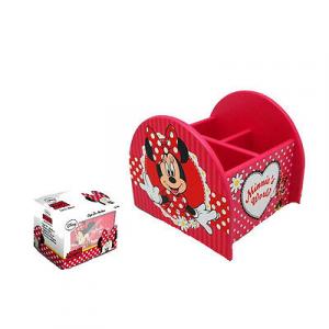 MINNIE Porta matite da scrivania in legno rosa rosso 3 scomparti 12,5x11,5x12 cm