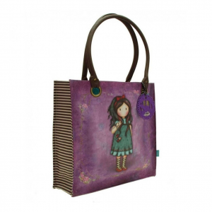 GORJUSS borsa spalla shopper eco-pelle viola tasca interna zip 35x37cm by SANTOR