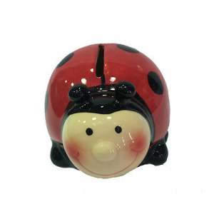 Salvadanaio a coccinella portafortuna ceramica con tappo con chiave 8x10,5 cm