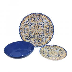 Servizio Piatti Coordinati Blu 18pz Decorati Per La Tavola In Ceramica