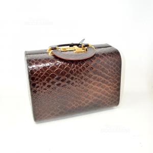Bauletto Beauty Stile Vintage Marrone Coccodrillato Con Codice 000