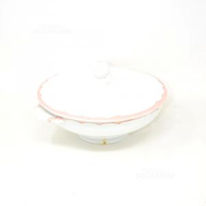 Zuppiera Ceramica Galvani Bianca Bordo Rosa