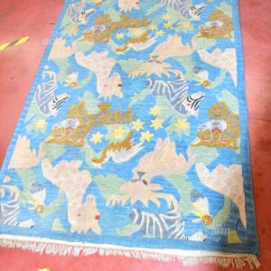 Tappeto Lana Annodato A Mano Azzurro Animali Qualità Nepal 120x177cm