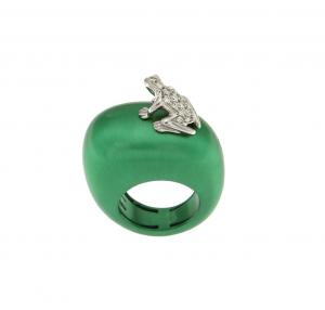 Anello Happy Frog in cataforesi, oro bianco e diamanti