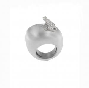 Anello base argento, oro bianco e diamanti