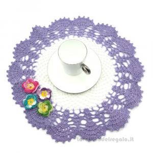 Centrino bianco e lilla con fiori ad uncinetto 30 cm Handmade - Italy