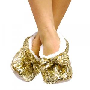Pantofole Ballerine Morbide con Paillettes - Colore: Rosso - Taglia: L