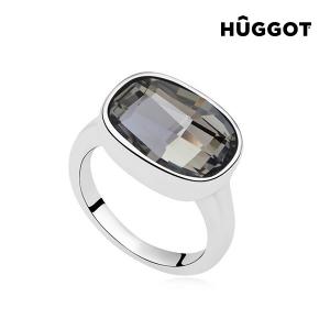 Anello Placcato in Rodio Night Hûggot Realizzato con Cristalli Swarovski® - Dimensioni: 17,5 mm