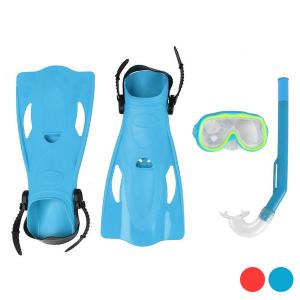 Maschera da Snorkeling con Boccaglio e Pinne Per bambini - Colore: Azzurro - Taglia: 32-36