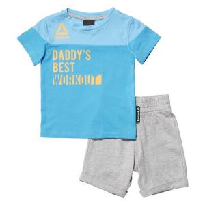 Completo Sportivo per Neonati Reebok G ES Inf SJ SS Azzurro Grigio - Taglia: Taglia - 12 Mesi