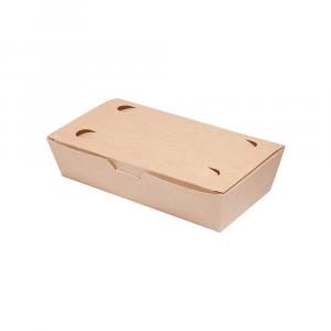 Box asporto con coperchio in cartoncino bio - 20x10x5cm avana