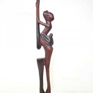Statuetta Africana Mamma Con Bambino In Legno 46 Cm