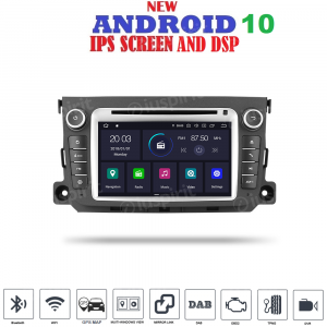 ANDROID 10 autoradio navigatore per Smart Fortwo 2012-2013 GPS DVD WI-FI Bluetooth MirrorLink