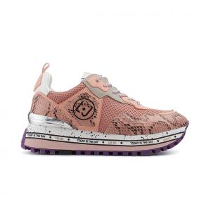 Sneaker rosa pitonata con fondo platform Liu jo
