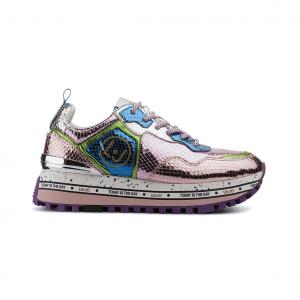 Sneaker rosa metallizzata con fondo platform Liu jo