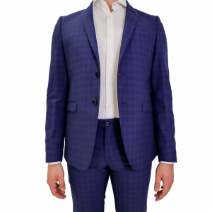Abito Luxury Man blu quadratini celesti