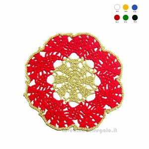 Sottobicchiere rosso e oro ad uncinetto 16 cm - Handmade - Italy