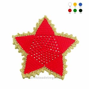 Sottobicchiere stella rosso e oro ad uncinetto 16 cm - Handmade - Italy