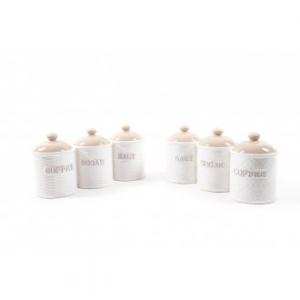 Mercury Tris di Barattoli 3pz 11xH.16cm Porcellana per la Cucina, Sale Zucchero Caffè Contenitori per la Casa