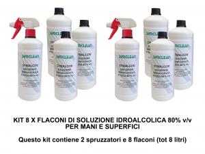 KIT 8 FLACONI SOLUZIONE IDROALCOLICA ETILICO 80% v/v SYNALCOV - detergente senza risciacquo for mani, superfici e strumenti di lavoro
