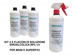 KIT 4 FLACONI SOLUZIONE IDROALCOLICA ETILICO 80% v/v SYNALCOV - detergente senza risciacquo per mani, superfici e strumenti di lavoro