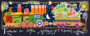 Musante Francesco Trenino dei sogni Serigrafia polimaterica Formato cm 10x20