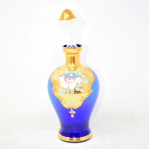 Bottiglia Blu Vetro Murano Dorata Altezza Totale25cm