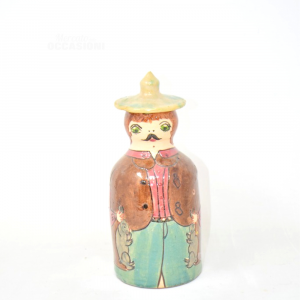 Bottiglia Terracotta A Forma Di Bambola Dipinta/smaltata