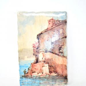 Quadretto In Terracotta Dipinto 30x20cm