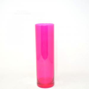 Vaso Vetro Cilindrico Fucsia 26 Cm
