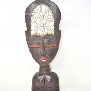 Icona In Legno Donna Africana 42.5 Cm