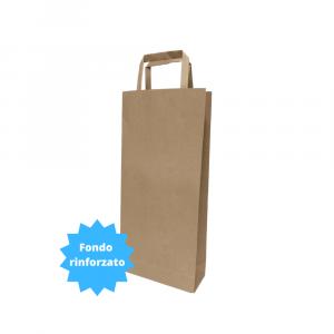 Shopper per bottiglie in carta avana con fondo rinforzato - 18x7x39cm