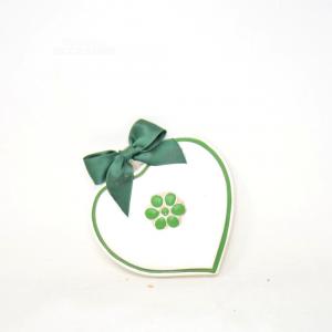 Cuore Da Appendere Bassano 14x14cm Bianco/verde