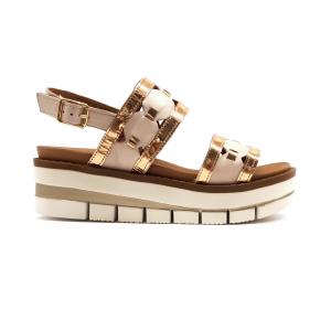 Sandalo cipria con motivi geometrici Grünland
