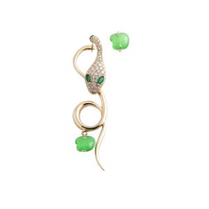 Monorecchino Malafemmina in oro rosa, diamanti, giada e smeraldi