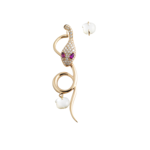 Long single earring in rose gold, diamonds, motherpearl and rubies