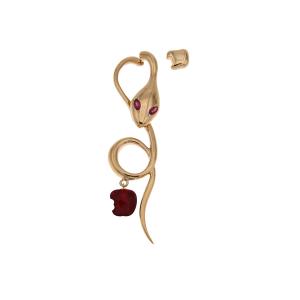 Monorecchino  in oro rosa e rubini