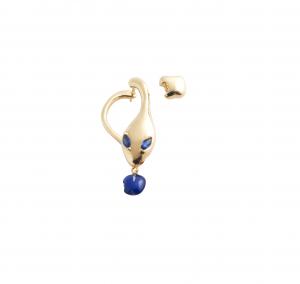Monorecchino Malafemmina in oro rosa, lapis e zaffiri blu