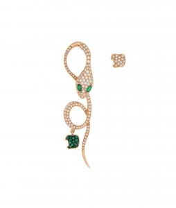 Monorecchino Malafemmina in oro rosa, diamanti e smeraldi